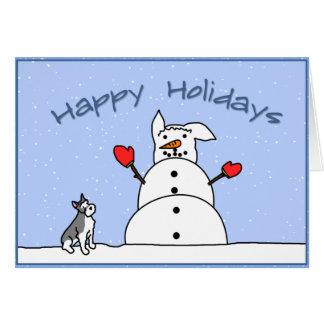 Buenas fiestas tarjeta de Navidad del Schnauzer