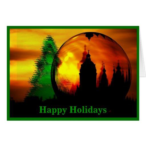 Buenas fiestas tarjeta del globo del navidad