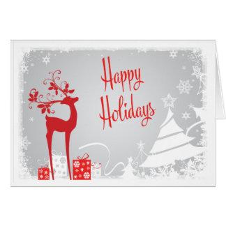 Buenas fiestas tarjeta el | rojo, ciervos grises,