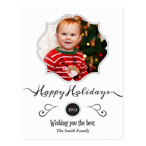 Buenas fiestas tarjeta elegante blanca de la foto  postales