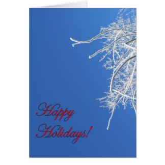 Buenas fiestas tarjeta escarchada del árbol