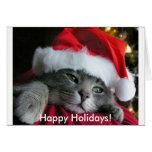¡Buenas fiestas! Tarjeta linda del gatito