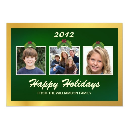 Buenas fiestas tarjeta plana de la familia 3-Photo Invitación 12,7 X 17,8 Cm