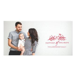 BUENAS FIESTAS tarjeta ROJA de la foto del navidad Plantilla Para Tarjeta De Foto