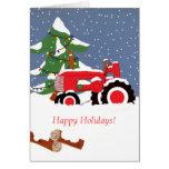 ¡Buenas fiestas! Tarjeta roja del tractor