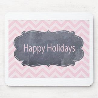 Buenas fiestas tarjetas de felicitación rosadas si alfombrilla de ratón