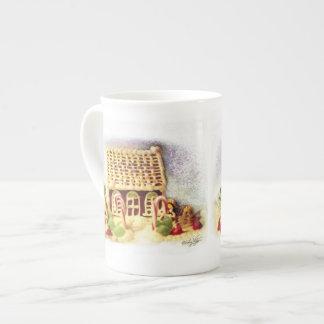 Buenas fiestas taza de China de la casa de pan de