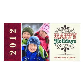 Buenas fiestas tipografía retra Photocards Tarjeta Personal Con Foto