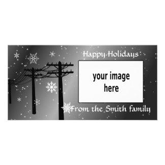 Buenas fiestas tonos del gris de los copos de tarjetas fotográficas