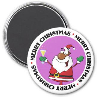 Buenas fiestas tostada de Santa negro Imán Redondo 7 Cm