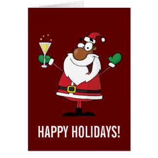 Buenas fiestas tostada de Santa negro Tarjeta De Felicitación