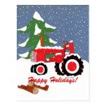 ¡Buenas fiestas! Tractor rojo Postal