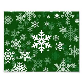 Buenas fiestas verde de los copos de nieve para cojinete