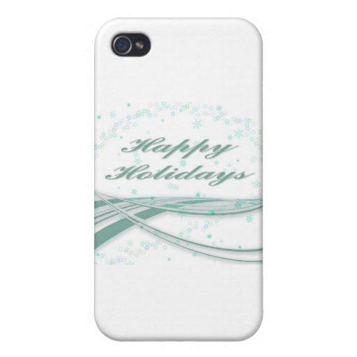 Buenas fiestas verde en el fondo blanco iPhone 4 coberturas