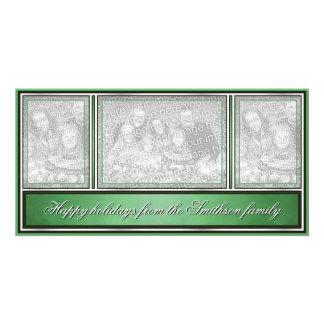 Buenas fiestas verde moderno elegante tarjetas fotograficas