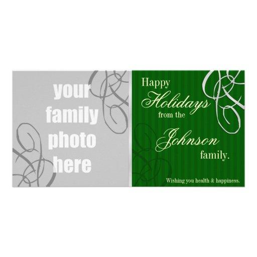 Buenas fiestas verde/plata tarjeta con foto personalizada