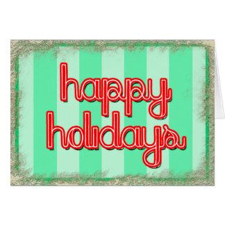buenas fiestas verde rojo del personalizar tarjeta de felicitación