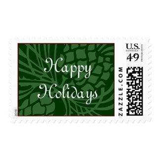 Buenas fiestas verde timbres postales