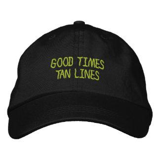 Buenas líneas casquillo bordado del moreno de las gorra de béisbol bordada