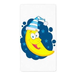 buenas noches dibujo animado lindo feliz de la lun etiqueta de envío