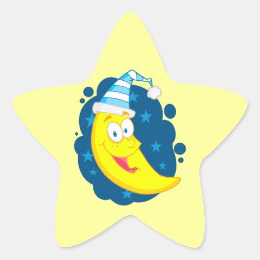 buenas noches dibujo animado lindo feliz de la calcomania forma de estrella personalizadas