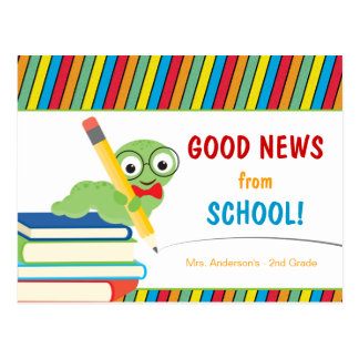Buenas noticias de la escuela con el ratón de tarjetas postales