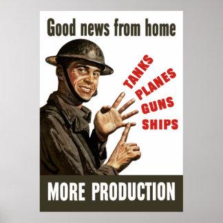 Buenas noticias del hogar -- Más producción Impresiones