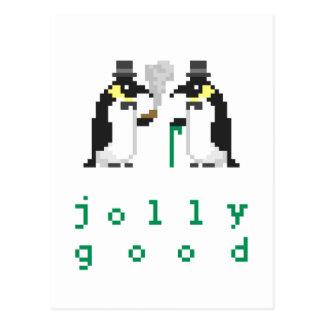 Buenas postales alegres de los pingüinos