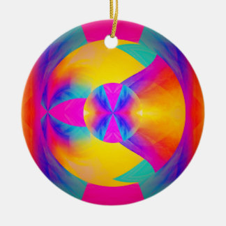 Buenas vibraciones adorno navideño redondo de cerámica