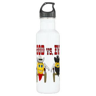 Bueno contra mal botella de agua