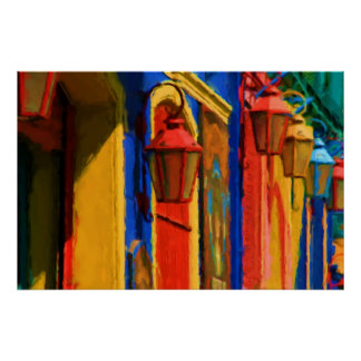Buenos Aires Caminito Street with red Lamps Poster