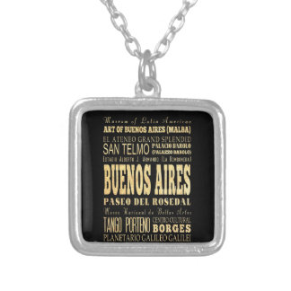 Buenos Aires City of Argentina Typography Art Necklace
