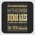 Buenos Aires City of Argentina Typography Art Square Sticker