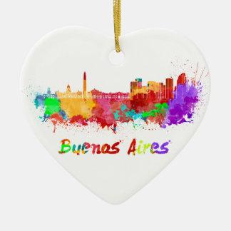 Buenos Aires skyline in watercolor Adorno De Cerámica En Forma De Corazón