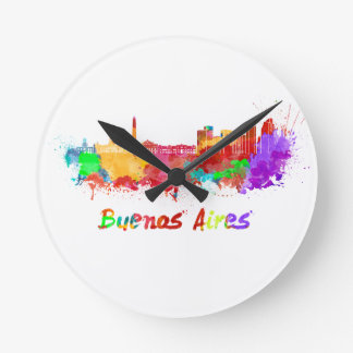 Buenos Aires skyline in watercolor Round Clock