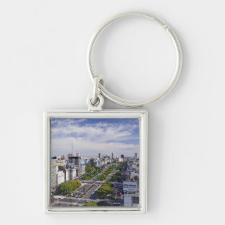 Buenos Aires Skyline Silver-Colored Square Keychain