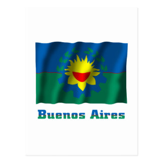 Buenos Aires waving flag with name Postcard