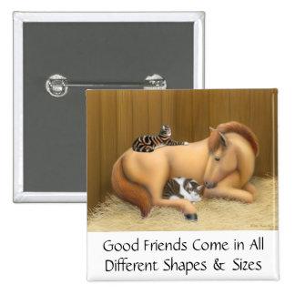 Buenos amigos caballo y Pin de los gatos