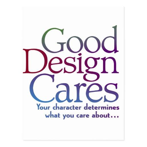 Buenos cuidados del diseño postales