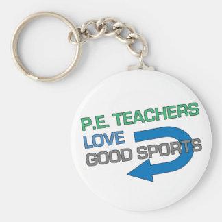 Buenos deportes de P.E. Teachers Like Llavero Redondo Tipo Pin