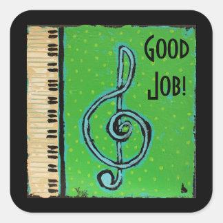 Buenos pegatinas del estudiante del piano del calcomanías cuadradas personalizadas