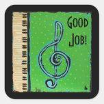 Buenos pegatinas del estudiante del piano del trab calcomanías cuadradas personalizadas