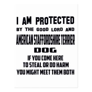 Buenos señor y americano Staffordsh me protejo Postales