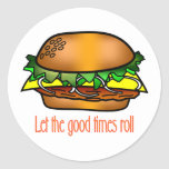 Buenos tiempos de la hamburguesa etiqueta redonda