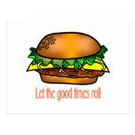 Buenos tiempos de la hamburguesa tarjeta postal