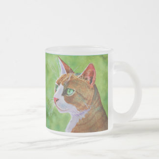 Buerller, the Feral Tabby Cat Frosted Glass Coffee Mug
