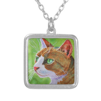 Buerller, the Feral Tabby Cat Silver Plated Necklace