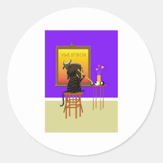 Buey 2009 de la pintura del gato etiquetas redondas
