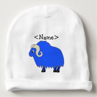 Buey azul con los cuernos encrespados gorrito para bebe