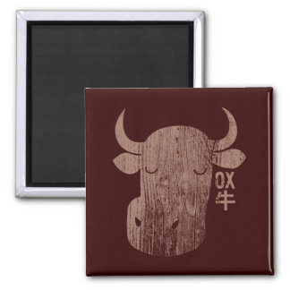 Buey chino del zodiaco en imán del vintage del kan
